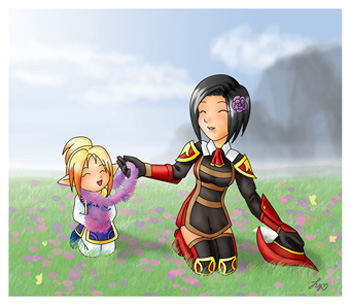 Field of Flowers, Priestessofpie, Drawing, Fan Art, FFXI