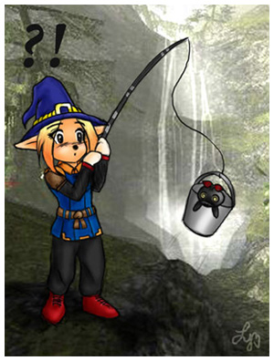 Notorious Bucket Fisher by priestessofpie, FFXI Fan Art Drawing from Lyali of Titan