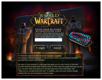 WoW Authenticator, Account Login and Password