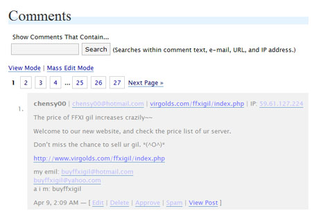 Buying Gil Spam Comment on WordPress, FFXI