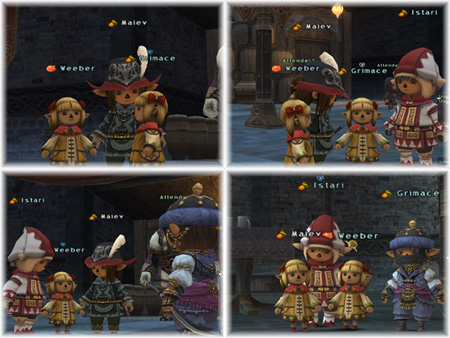 Weeber, Grimace, Istari and Maiev in midget form, Taru FFXI of Fenrir Server