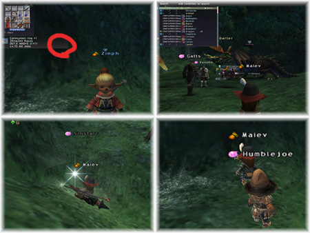 Zimph, Humblejoe, Sinstarr in Dragon's Aery, FFXI Taru of RDM Server, Kupo LS