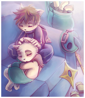 Kennen and Teemo Snuggle - LoL Fanart