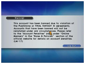 the StarOnion, LM-17, FFXI Banning, Credit Card Chargeback