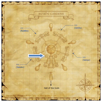Map of RuAun Gardens, FFXI