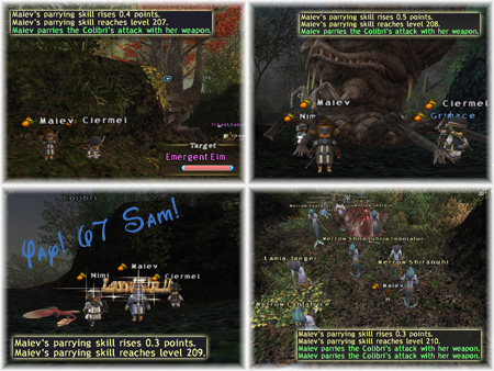 Maiev's Taru Samurai Skillup, Parrying Skill in FFXI Fenrir Server