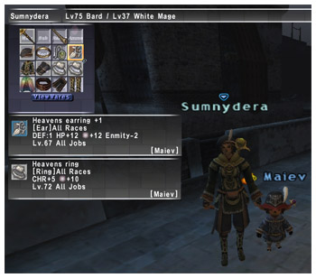 Sumnydera's Jewelleries made by Maiev of Fenrir, FFXI