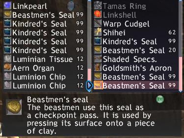Kindred Seal in Storage, Maiev FFXI of Fenrir
